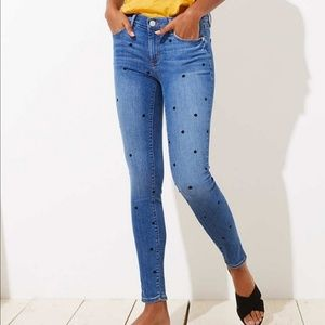 LOFT // modern dotted skinny jeans NWT